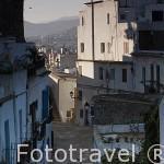 Calle en Dalt Vila. Ciudad de IBIZA, patrimonio de la Humanidad, UNESCO. Mar Mediterraneo. Islas Baleares. España