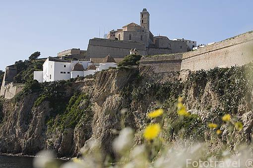 La ciudad de IBIZA construida al borde de los acantilados. Islas Baleares. Mar Mediterraneo. España