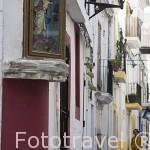 Calle de la Virgen en el barrio de La Marina. Casco historico es patrimonio de la Humanidad, UNESCO. Ciudad de IBIZA. Islas Baleares. España