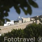 Vista de las murallas de la ciudad de IBIZA. patrimonio de la Humanidad, UNESCO. Mar Mediterraneo. Islas Baleares. España