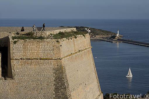 Baluarte de Sant Bernat. Parte alta del casco historico patrimonio de la UNESCO de IBIZA. Islas Baleares. Mar Mediterraneo. España