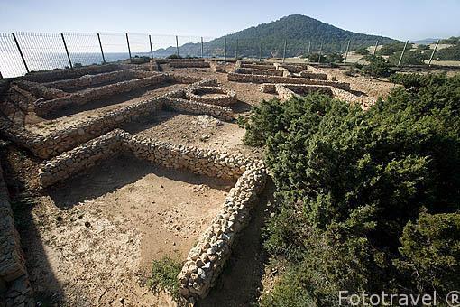 Restos del antiguo asentamiento fenicio de Sa Caleta, s.VII a.C.. Declarado en 1999 patrimonio de la Humanidad, UNESCO. Sur de la isla de IBIZA. Islas Baleares. España
