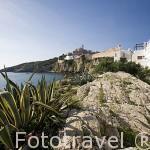 El barrio de Sa Penya de cara al mar Mediterraneo. Ciudad de IBIZA. Islas Baleares. Mar Mediterraneo. España
