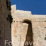 Orejón que protegia la entrada al Porton Nuevo, s.XVI en la parte baja del baluarte de Sant Pere. Parte alta del casco historico patrimonio de la UNESCO de IBIZA. Islas Baleares. España