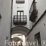 Soportales en calle Paneras, junto a la plaza Mayor. Antigua juderia. CACERES. Ciudad Patrimonio de la Humanidad. Extremadura. España
