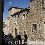 """Fachada de la Casa del Mono. Actual biblioteca """"Zamora Vicente"""", s.XV. CACERES. Ciudad Patrimonio de la Humanidad. Extremadura. España"""
