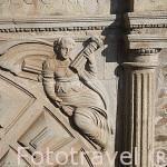 Detalle. Fachada del Palacio Episcopal (s. XIII- XVIII) junto al arco de la Estrella. CACERES. Ciudad Patrimonio de la Humanidad. Extremadura. España