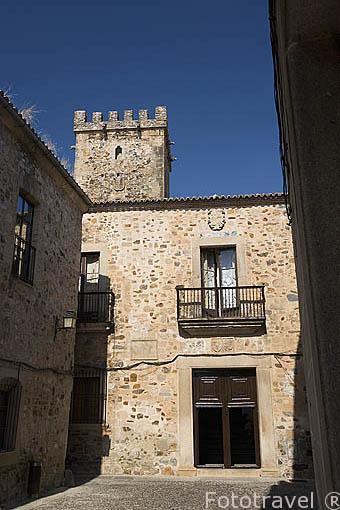 Fachada del Palacio de los Golfines de Arriba, s.XV. CACERES. Ciudad Patrimonio de la Humanidad. Extremadura. España