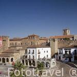 La plaza Mayor. A la izquierda la torre de Bujaco, s.XII y restos de la muralla. CACERES. Ciudad Patrimonio de la Humanidad. Extremadura. España