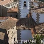 La ciudad de CACERES y una torre de la iglesia de San Francisco Javier desde la torre de las Cigueñas. Ciudad Patrimonio de la Humanidad. Extremadura. España