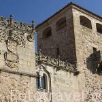Detalle de la fachada del Palacio de los Golfines de Abajo (s.XIII-XV). CACERES. Ciudad Patrimonio de la Humanidad. Extremadura. España