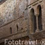 Fachada de la casa Mudéjar con restos en ladrillo en la fachada. CACERES. Ciudad Patrimonio de la Humanidad. Extremadura. España