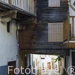 Calle del Altozano Bajo y canal de agua. VALVERDE DE VERA. Provincia de Caceres. Extremadura. España - Spain