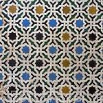Detalle de un alicatado en una pared. La Alhambra, UNESCO. Ciudad de GRANADA. Andalucia. España