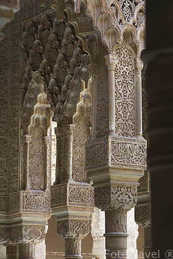 Patio de los Leones. La Alhambra, UNESCO. Ciudad de GRANADA. Andalucia. España