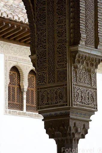 Detalle de un capitel. Palacio de los Arrayanes. La Alhambra, UNESCO. Ciudad de GRANADA. Andalucia. España
