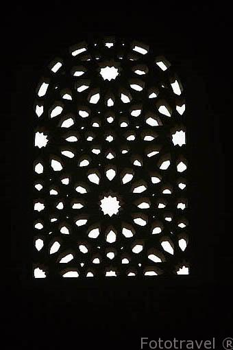 Detalle de una celosia. Palacio de los Arrayanes. La Alhambra, UNESCO. Ciudad de GRANADA. Andalucia. España