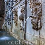 Detalle de fioguras. El Pilar de Carlos V con figuras mitologicas y alegoricas. Renacimiento. Ciudad de GRANADA. Andalucia. España