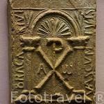 Ladrillo de Bracarius con un crismón. Epoca visigoda. s.V- VII. Museo Arqueológico y etnográfico. Ciudad de GRANADA. Andalucia. España