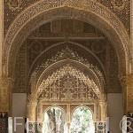 El Mirador de Lindaraja desde la Sala de Dos Hermanas. Palacio de los Leones. Palacios Nazaries. La Alhambra,UNESCO. Ciudad de GRANADA. Andalucia. España