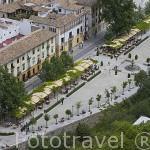 Vista del Paseo de los Tristes y terrazas. Ciudad de GRANADA. Andalucia. España