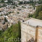 Vista del barrio del Albaycin desde las murallas de la Alcazaba. La Alhambra,UNESCO. Ciudad de GRANADA. Andalucia. España