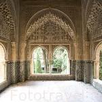 Mirador de Lindaraja. Palacio de Los Leones. Palacios Nazaries. La Alhambra, UNESCO. Ciudad de GRANADA. Andalucia. España