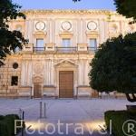 Fachada principal del Palacio de Carlos V.Estilo Renacentista. Ciudad de GRANADA. Andalucia. España