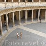 Patio interior del Palacio de Carlos V. La Alhambra,UNESCO. Ciudad de GRANADA. Andalucia. España