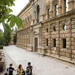 Fachada meridional o de la Emperatriz del Palacio de Carlos V. Orden Jonico. La Alhambra, UNESCO. Ciudad de GRANADA. Andalucia. España