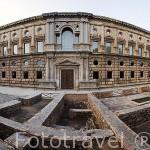 Fachada meridional o de la Emperatriz del Palacio de Carlos V. La Alhambra, UNESCO. Ciudad de GRANADA. Andalucia. España