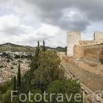 Mirador desde la torre-puerta de Las Armas,recinto fortificado de la Alcazaba. La Alhambra, UNESCO. Ciudad de GRANADA. Andalucia. España