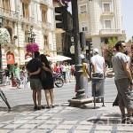 Puerta Real, confluencia de varias calles en el centro de Granada. Ciudad de GRANADA. Andalucia. España