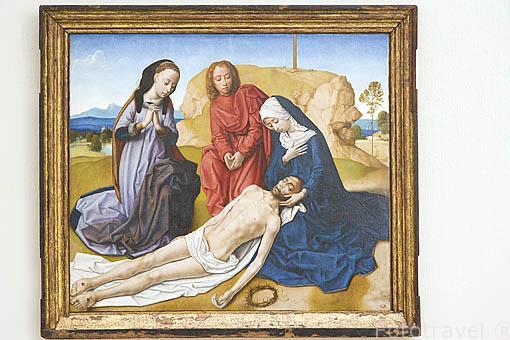 """Cuadro """"Llanto sobre Cristo Muerto"""" por Hugo Van der Goes. Oleo sobre madera. Fundación Rodriguez Acosta. Ciudad de GRANADA. Andalucia. España"""