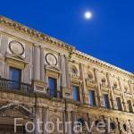 Fachada principal del Palacio de Carlos V. La Alhambra, UNESCO. Ciudad de GRANADA. Andalucia. España