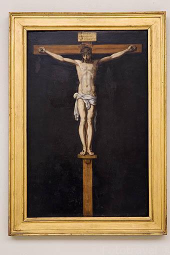 """""""Cristo Crucificado"""", obra de Francisco Pacheco. Oleo sobre tabla. Fundación Rodriguez Acosta. Ciudad de GRANADA. Andalucia. España"""