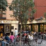 Terrazas y restaurantes en la Plaza Puerta Cerrada. MADRID. España