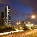 Parque empresarial Cuatro Torres Business Area en el Paseo de la Castellana. Caja Madrid,Torre Sacyr Vallehermoso, Torre de Cristal y Torre Espacio desde M-40. MADRID. España