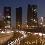 Ciudad de Madrid y modernos rascacielos desde la autopista de N-I. Comunidad de MADRID. España