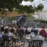Terrazas junto al Palacio Real. Ciudad de MADRID. Comunidad de Madrid. España