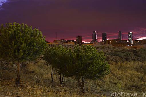 Al fondo las torres de: Torre Espacio, Cristal, Sacyr Vallehermoso y Caja Madrid. Ciudad de Madrid. España