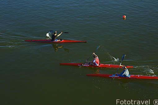 Practicando kayak en el canal del parque Juan Carlos I. Campo de las Naciones. Madrid. España