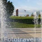 Detalle de surtidores de agua. Parque Juan Carlos I. Campo de las Naciones. Madrid. España