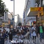 Terrazas. Al fondo la plaza de Callao. Calle de Gran Via. Madrid capital. Comunidad de Madrid. España