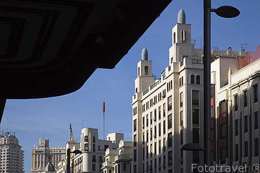 Edifiicio s.XX. Gran Via cerca de Plaza de España. Madrid. Comunidad de Madrid. España