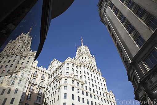El edificio de la Fundacion Telefonica en Gran Via 28, Junto al metro Gran Via. Madrid. Comunidad de Madrid. España