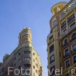 Edifiicios del s.XX esquina Gran Via con Isabel La Catolica. Madrid capital. Comunidad de Madrid. España