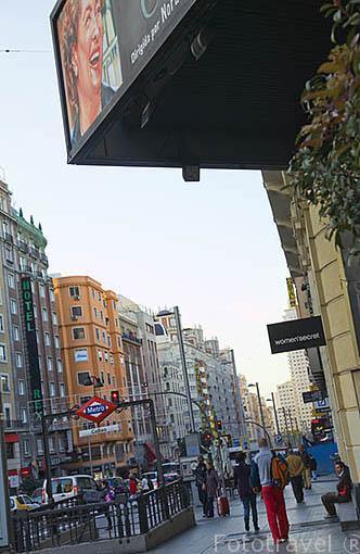 Calle de Gran Via y metro de Callao. Madrid capital. Comunidad de Madrid. España