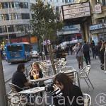 Terrazas cerca de la plaza de Callao. Calle de Gran Via. Madrid capital. Comunidad de Madrid. España