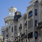 Fachada de antiguos edificios de primeros del s.XX en el inicio de la calle Gran Via. Madrid capital. Comunidad de Madrid. España